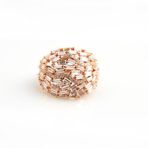 zilveren ring roos goud verguld gezet met cubic zirconia