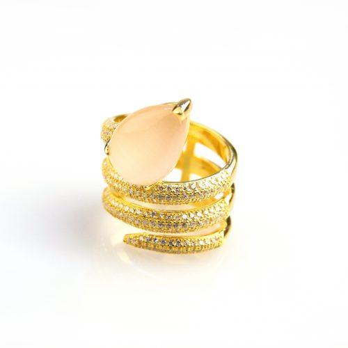 zilveren ring geel goud verguld gezet met roze steen en cubic zirconia