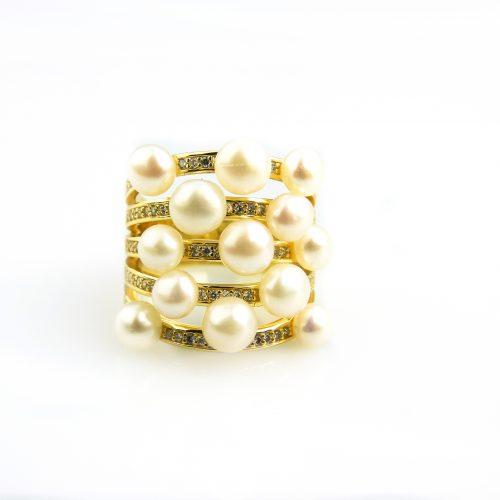 zilveren ring geel goud verguld gezet met parels en cubic zirconia