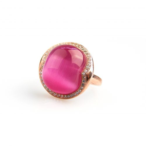 zilveren ring roos goud verguld gezet met roze steen en cubic zirconia