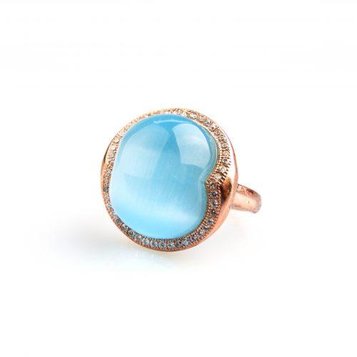 zilveren ring roos goud verguld gezet met blauwe turkooise steen en cubic zirconia