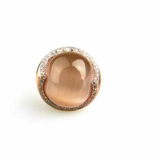 zilveren ring roos goud verguld gezet met bruine steen en cubic zirconia