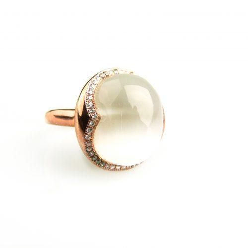 zilveren ring roos goud verguld gezet met witte steen en cubic zirconia