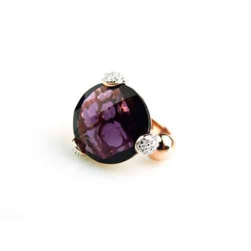 zilveren ring roos goud verguld gezet met paarse steen en cubic zirconia