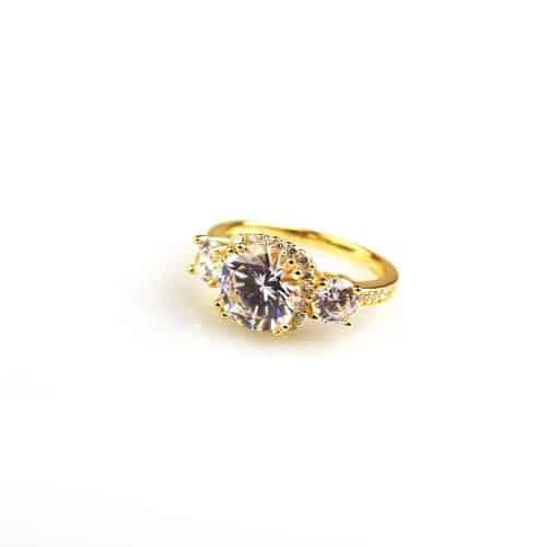 zilveren ring geel goud verguld gezet met cubic zirconia