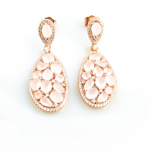 zilveren oorringen oorbellen roos goud verguld gezet met roze stenen en cubic zirconia