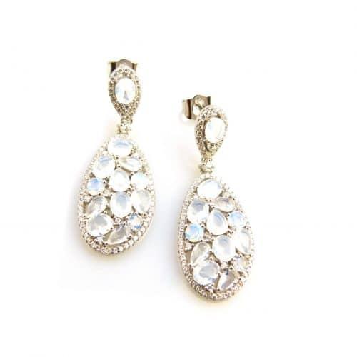 zilveren oorbellen zilveren oorringen opaal kleurige stenen