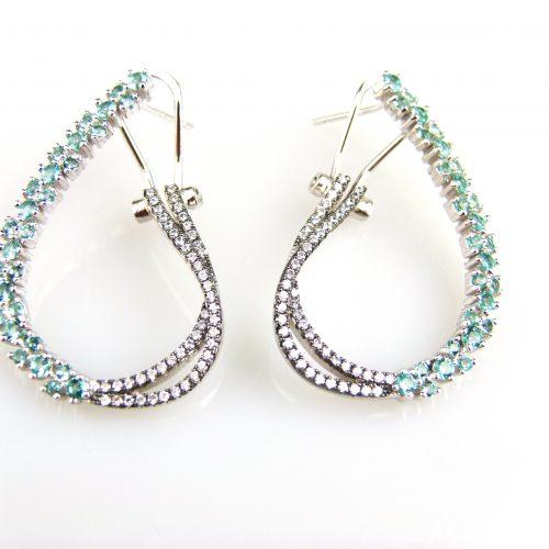 zilveren oorbellen zilveren oorringen gezet met groene stenen en cubic zirconia