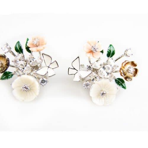zilveren oorbellen zilveren oorringen gezet met bloemetjes en email