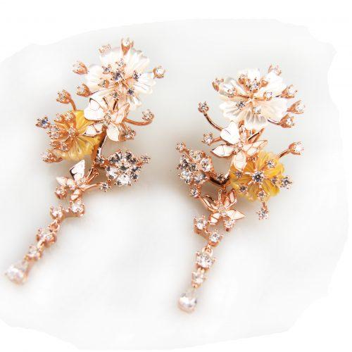 zilveren oorringen oorbellen roos goud verguld gezet met bloemen en cubic zirconia