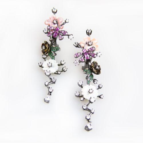 zilveren oorringen oorbellen gezet met bloemen en cubic zirconia