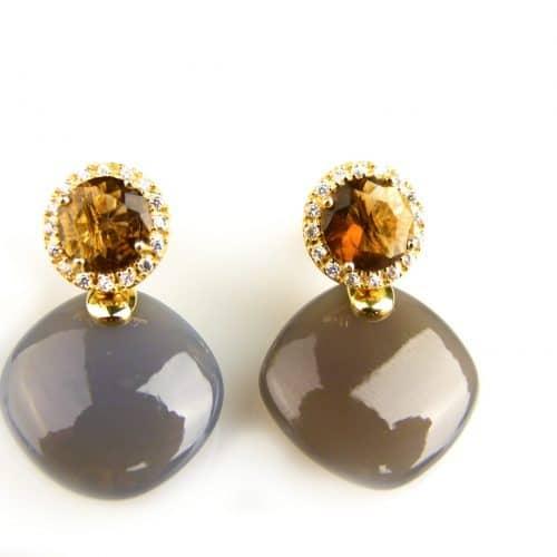 zilveren oorringen oorbellen geel goud verguld gezet met grijze en bruine stenen en cubic zirconia