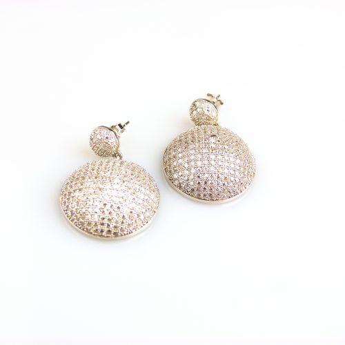 zilveren oorringen oorbellen gezet met cubic zirconia