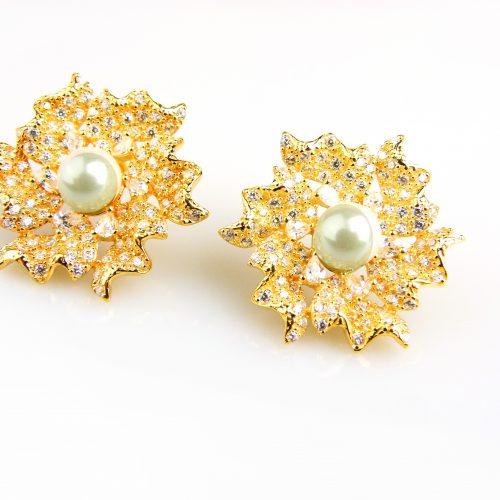 zilveren oorringen oorbellen geel goud verguld gezet met parel en cubic zirconia