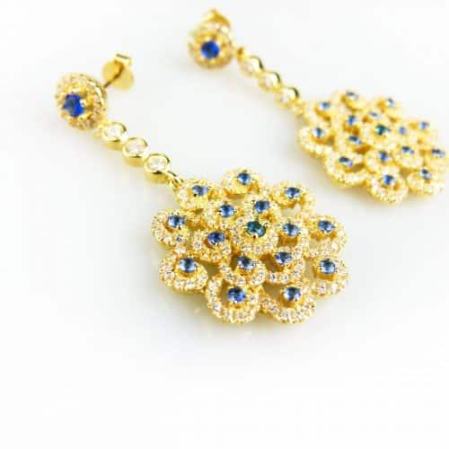 oorringen oorbellen geel goud verguld gezet met blauwe stenen en cubic zirconia