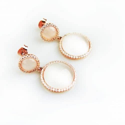 zilveren oorringen oorbellen roos goud verguld gezet met witte stenen en cubic zirconia