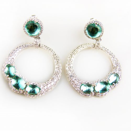 zilveren oorringen oorbellen gezet met groene stenen en cubic zirconia