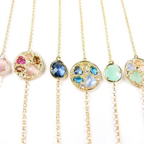 zilveren halskettingen colliers geel goud verguld gezet met gekleurde stenen