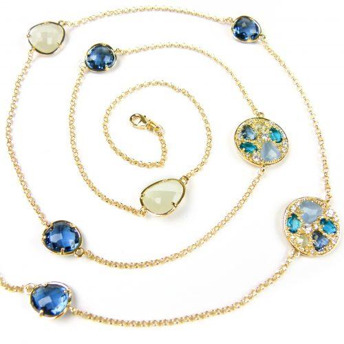 lange zilveren halsketting collier geel goud verguld gezet met gekleurde stenen blauw en beige