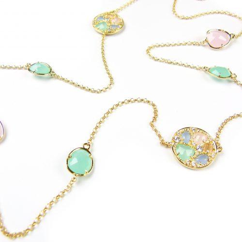 lange zilveren halsketting collier geel goud verguld gezet met gekleurde stenen roze en groen