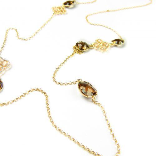 lange zilveren halsketting collier geel goud verguld gezet met gekleurde stenen bruin beige
