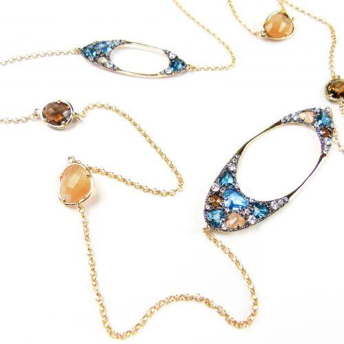 lange zilveren halsketting collier geel goud verguld gezet met gekleurde stenen bruin blauw beige