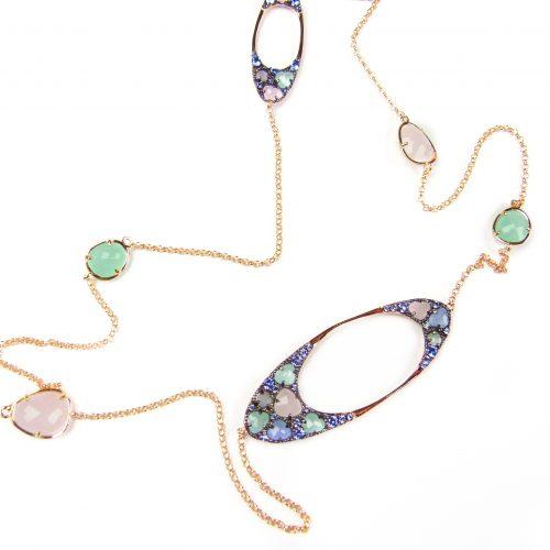 lange zilveren halsketting collier geel goud verguld gezet met gekleurde stenen groen roos blauw