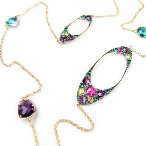 lange zilveren halsketting collier geel goud verguld gezet met gekleurde stenen groen paars roos