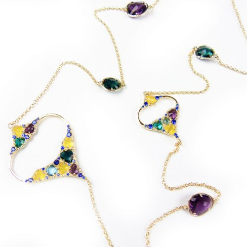 lange zilveren halsketting collier geel goud verguld gezet met gekleurde stenen groen paars geel