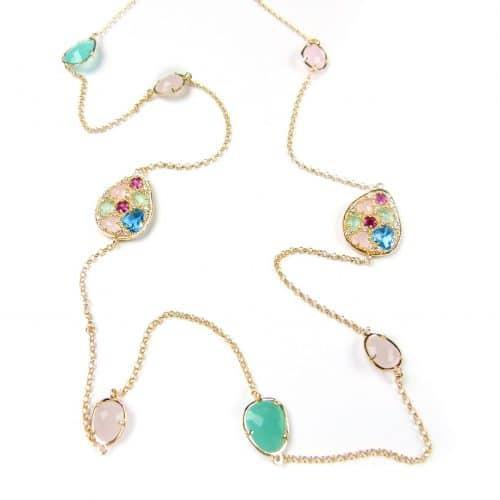 lange zilveren halsketting collier geel goud verguld gezet met gekleurde stenen groen roze en turkoois