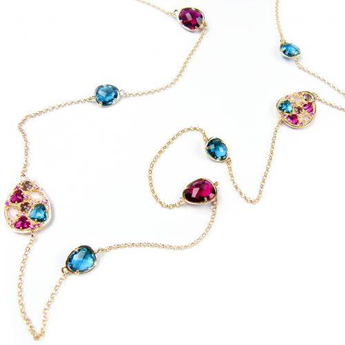 lange zilveren halsketting collier geel goud verguld gezet met gekleurde stenen blauw en roos