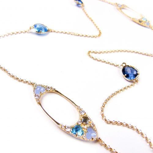 lange zilveren halsketting collier geel goud verguld gezet met gekleurde stenen blauw en turkoois
