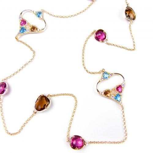 lange zilveren halsketting collier geel goud verguld gezet met gekleurde stenen bruin, roze en turkoois