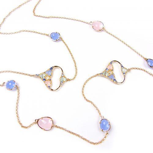 lange zilveren halsketting collier geel goud verguld gezet met gekleurde stenen blauw en roze