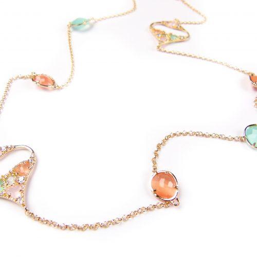 lange zilveren halsketting collier geel goud verguld gezet met gekleurde stenen groen en oranje