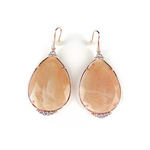zilveren oorringen oorbellen roos goud verguld met roze stenen
