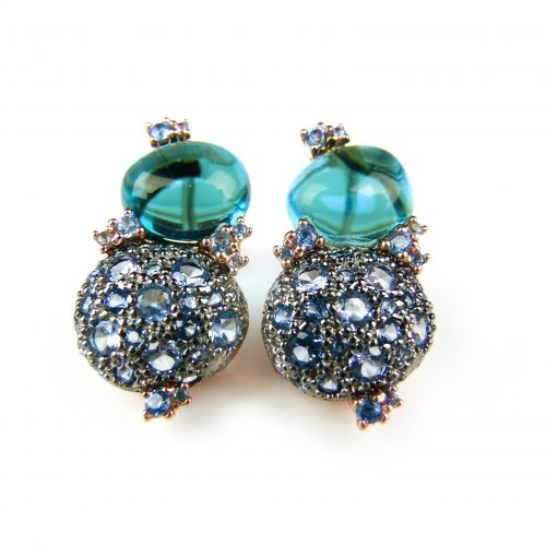 zilveren oorringen oorbellen roos goud verguld gezet met blauwe stenen