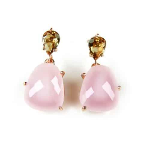 zilveren oorringen oorbellen roos goud verguld gezet met bruine en roze stenen