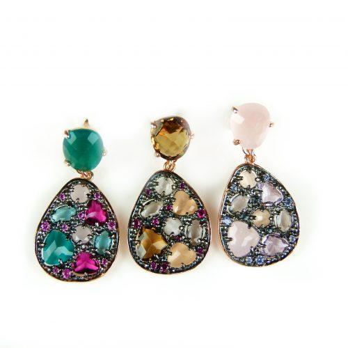 zilveren oorringen oorbellen roos goud verguld gezet met gekleurde stenen