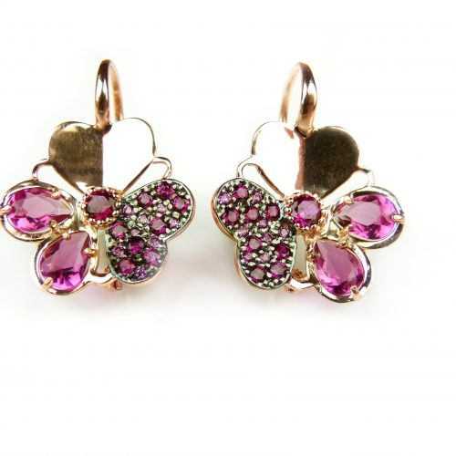 zilveren oorringen oorbellen roos goud verguld gezet met rode stenen