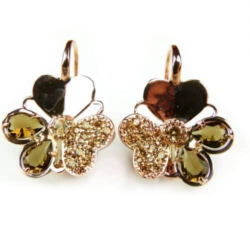 zilveren oorringen oorbellen roos goud verguld gezet met bruine stenen