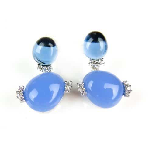 Oorringen Model Double Bubble zilveren oorringen oorbellen gezet met blauwe stenen en donkerdere blauwe stenen - Oorbel