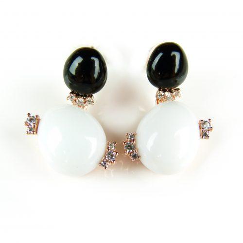 zilveren oorringen oorbellen roos goud verguld gezet met zwarte en witte stenen