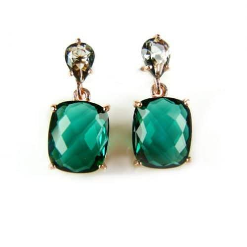 zilveren oorringen oorbellen roos goud verguld gezet met blauwe en groene stenen