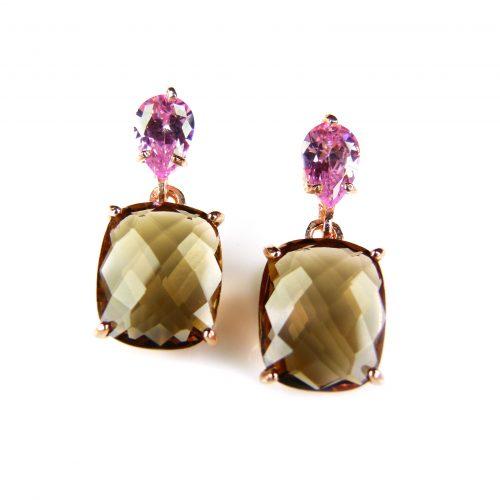 zilveren oorringen oorbellen roos goud verguld gezet met roze en bruine stenen