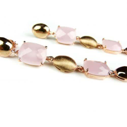 zilveren oorringen oorbellen roos goud verguld gezet met roze stenen