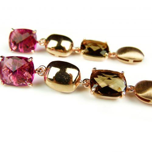 zilveren oorringen oorbellen roos goud verguld gezet met bruine en rode stenen
