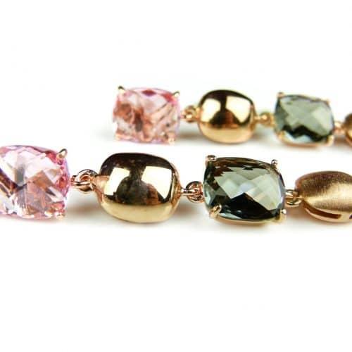zilveren oorringen oorbellen roos goud verguld gezet met roze en grijze stenen