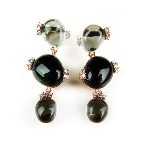 zilveren oorringen oorbellen roos goud verguld gezet met grijze en zwarte stenen