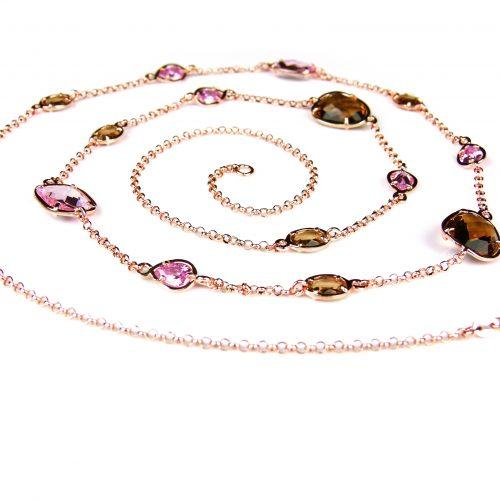 zilveren ketting roos goud verguld halssnoer met gekleurde stenen